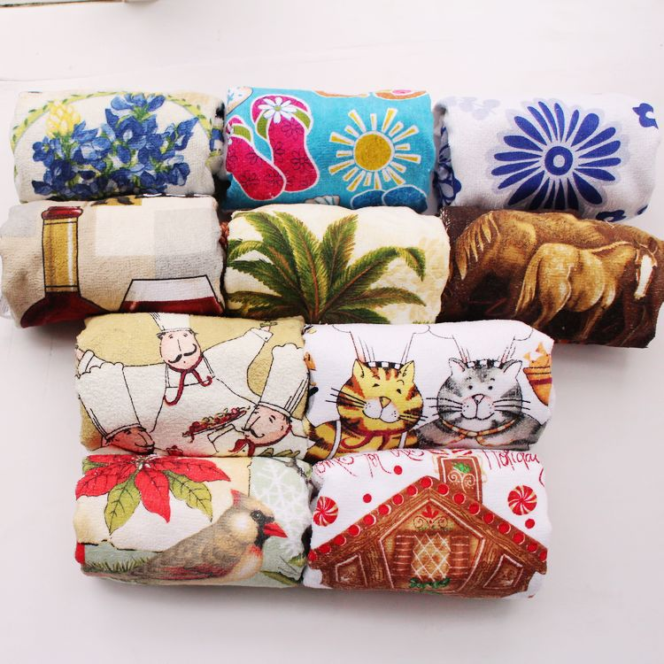10pcs 100 Cotton European Country Designs Kitchen Towels Set As Gift