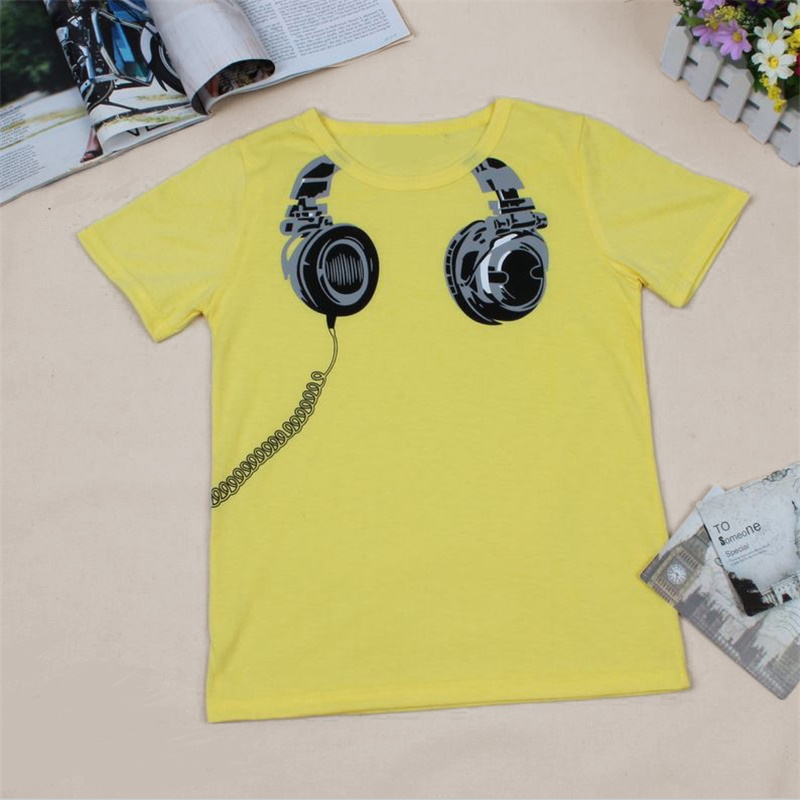 Hot Sale New 2017 Headphone Design T shirt Boys Kids Short Sleeve Tops T-shirt Tees 100%Cotton