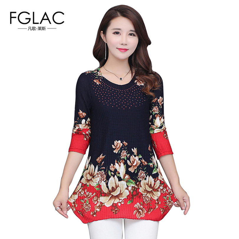 FGLAC 4XL Women blouse shirt Fashion Casual Autumn and Winter Knitted women tops Elegant Loose Diamonds women shirt