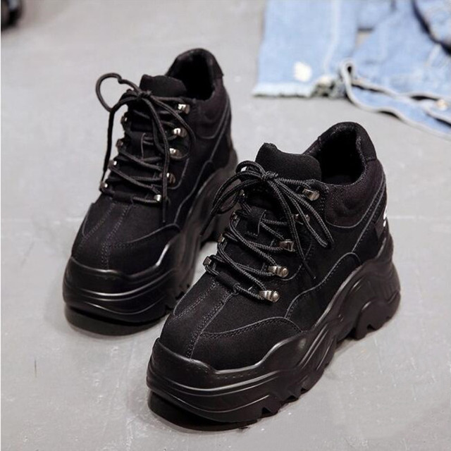 Women High Platform Shoes New Breathable Women Height Increasing Shoes 12 CM Thick Sole Trainers Sneakers
