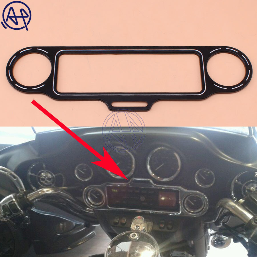 1pcs Aluminum Brand New Motorcycle Black Stereo Accent Trim Ring Set For Harley Ultra Classic 1986 Up Free Shipping