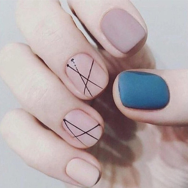 24 Pcs Matte Blue Pink Purple Transparent Fake Nails With Glue