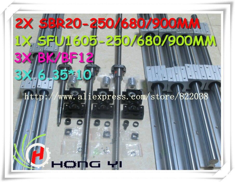 2 X SBR20-250/680/900MM+3 X SFU1605(RM1605)- Ball screw + 3 X BK12 BF12 + 3 X 6.35*10couplers sfu rm 1605 ball screw l450mm bk bf12