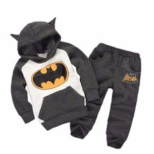 2016 New autumn Children Outfits Tracksuit Batman teech Clothing kid Hoodies+ Pants 2 pcs kids Sport Suit baby Boys cotton 2 Set