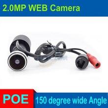 Câmera de vigilância interna 1080p poe hd, cor de buraco para porta doméstica ip ip 180 graus, rede de vigilância suporte da câmera onvif