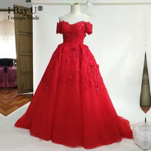 2017 Sequins Arabic Real Sample Red Ball Gown Puffy Appliques Lace Bead Off The Shoulder Short Sleeves Formal Evening Prom Dress