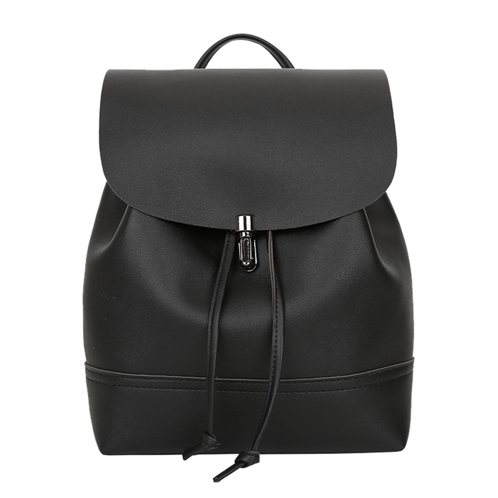 Women Flap String Backpack PU Leather Backpacks For Teenage Girls Female School Shoulder Bag Anti Theft Bagpack Mochila