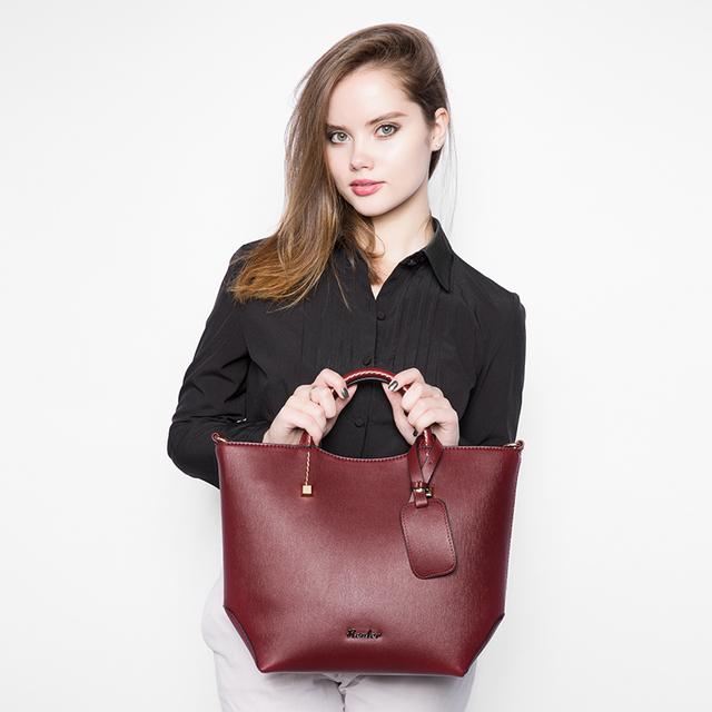 REALER brand fashion handbag artificial leather tote bag vintage women bucket bag high quality portable women bag