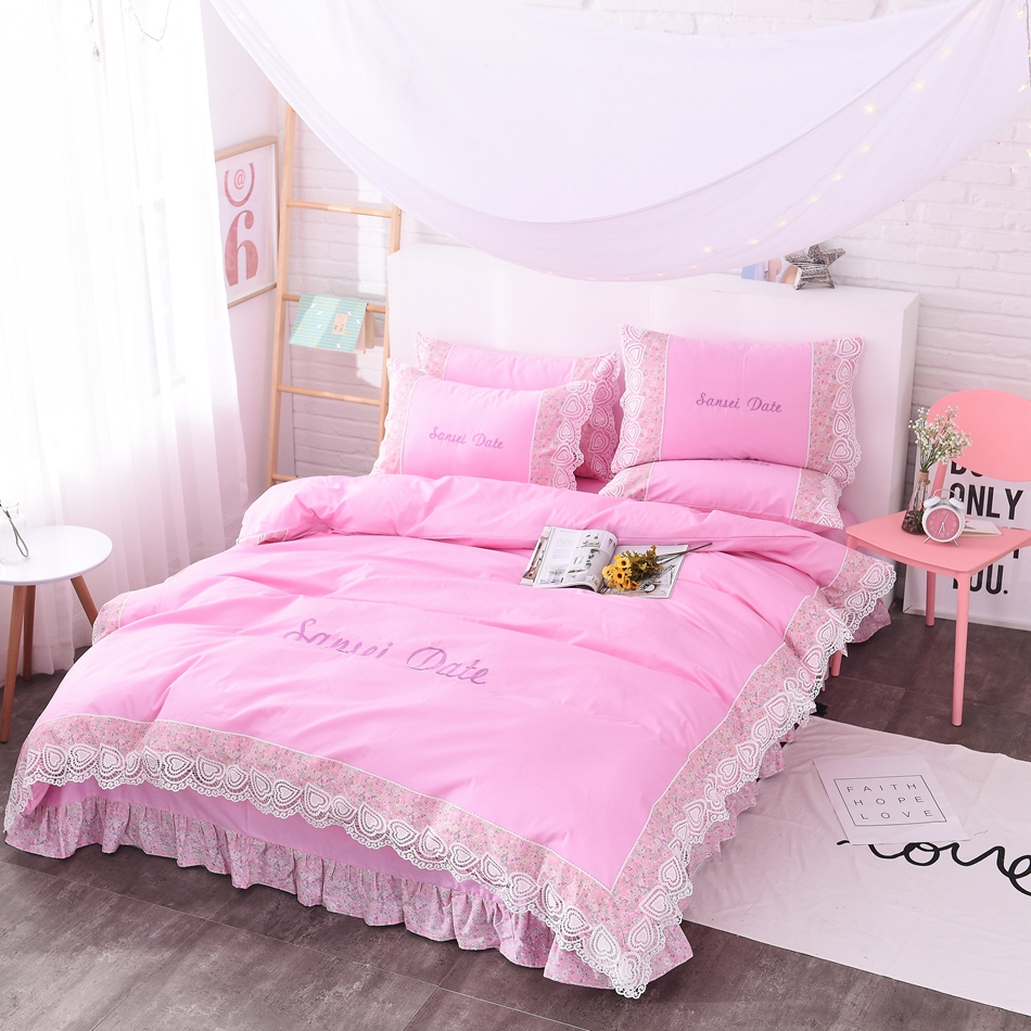 Pink Bed Sheet Design - Pink bedding sets queen king size design for men and women 100 cotton diagonal printing