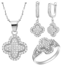 925 Sterling Silver  with Zircon Set With AAA Zircon Flower Ring Earring Necklace Best Gift For Women