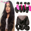 Brazilian Virgin Hair Loose Wave With 360 Lace Frontal Closure 4 Bundles and Frontal Brazilian Hair 360 Lace Frontal With Bundle