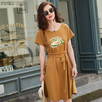 ARTKA 2019 Summer New Women Dress O Neck Avocado Print T shirt Dress With Belt Casual Short Sleeve T shirt Dresses ZA15298X