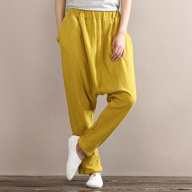 2eadc99a61f Women Slub Cotton Linen Soft Harem Pants Spring Autumn Vintage Casual Solid  Color Loose Elastic Waist