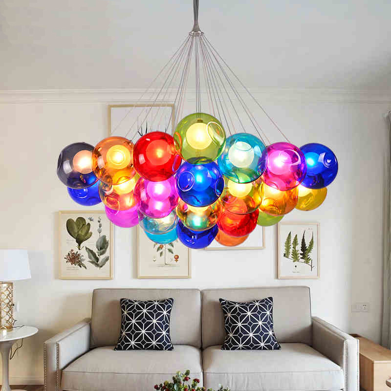 Creative Design Modern LED Colorful Glass Pendant Lights Lamps For Dining Room Living Bar Led