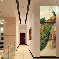 Unframed 3 Panel Canvas Painting Home Decoration Art Peacock Replica Oil Painting Wall Pictures For Living