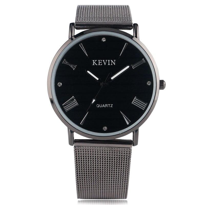 KEVIN Rhinestones Wrist Watch Dress Cool Sport Stainless Steel Mesh Band Strap Round Dial Men Casual Women Trendy Quartz Gift