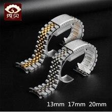 Bracelet de montre à extrémité incurvée en acier inoxydable, Bracelet or argent, 13 17 19mm 20mm, fermoir pliant pour montre à Date jubilaire