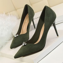Free shipping fashion pointed toe pumps women Suede rhinestone shoes heels9cm