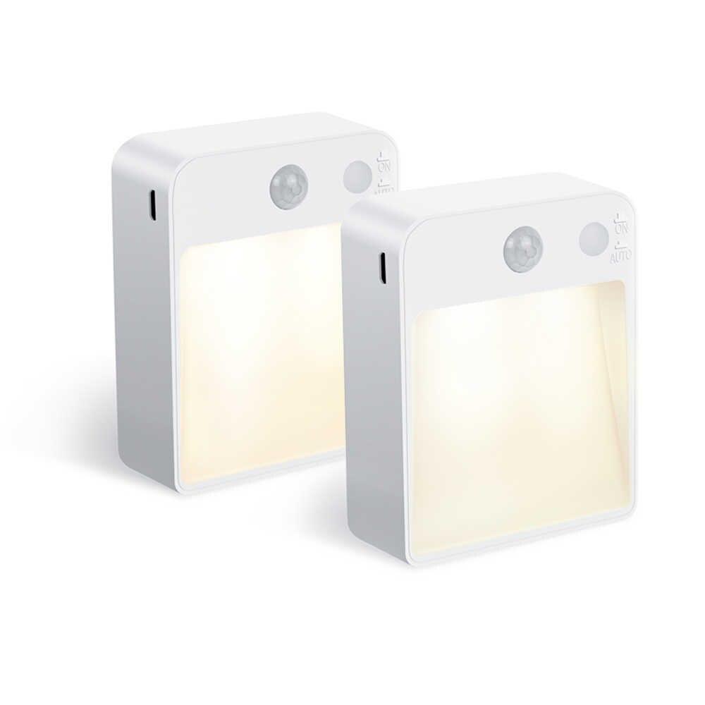 Светодиодный ночник с датчиком движения PIR, двойной индукционный световой датчик для автомобиля, настенный светильник с usb-портом для детей, прикроватная тумбочка для гостиной