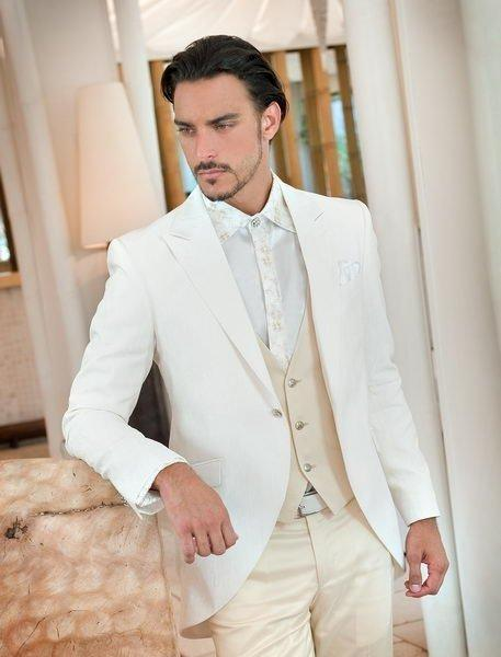 Latest Coat Pant Designs Ivory Beige Wedding Suits for Men Groom Jacket Slim Fit 3 Piece Style Tuxedo Custom Prom Blazer Ternos