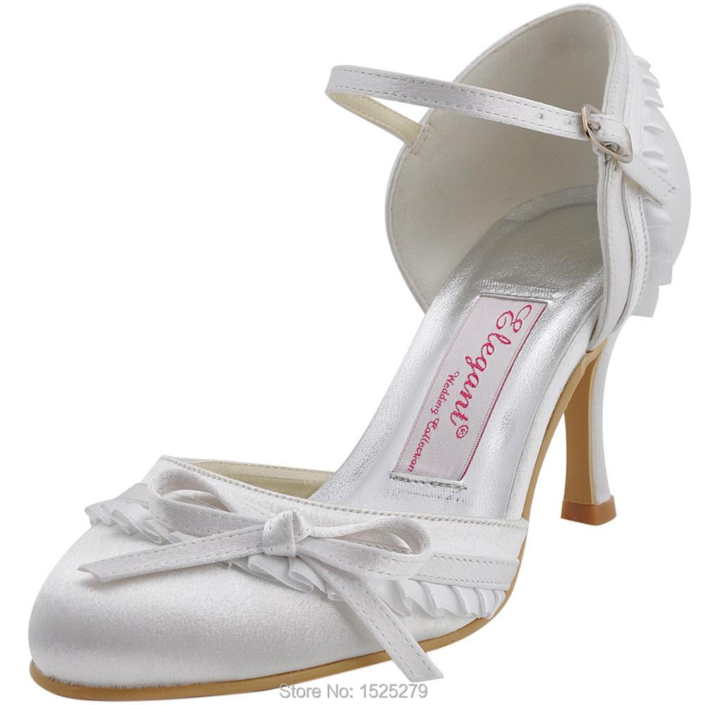 EP11070 White Women Mary-jane High Heels 3'' Bridal Party Pumps Bow Ruffled Satin Buckles Wedding Bride Dress Shoes