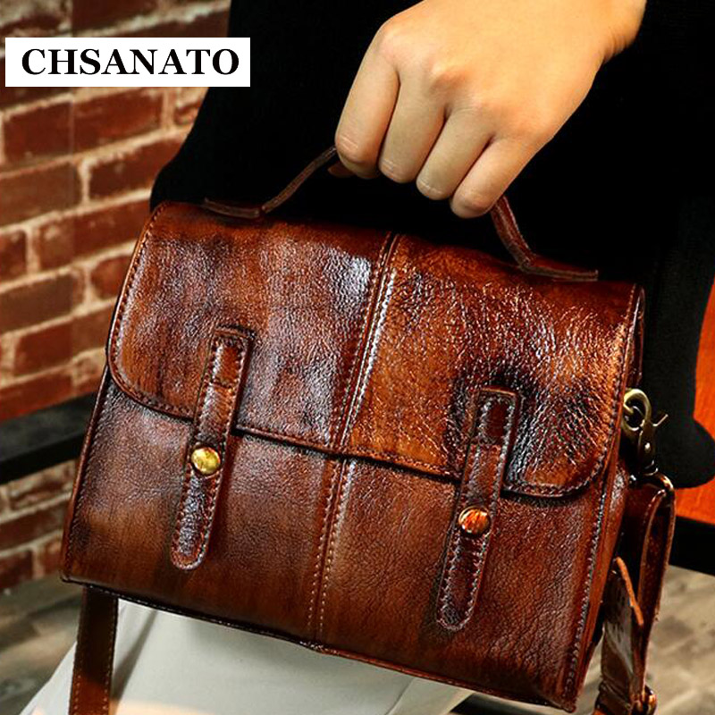 CHSANATO Unique Women Genuine Leather Messenger Bags Vintage Girls Satchel Bag Small Crossbody Hand Bag For Lady Briefcase