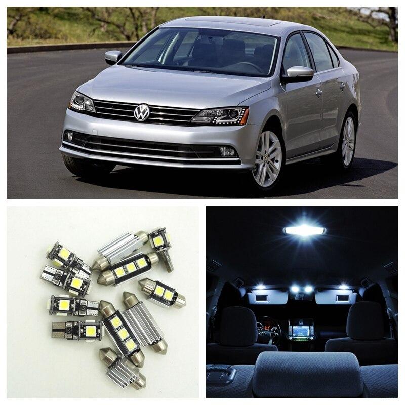 13pcs White Canbus Car LED Light Bulbs Interior Package Kit For 2014 Volkswagen VW Jetta 6 MK6 VI Map Dome Vanity Mirror Lamp