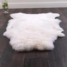 uncut shaped 90120cm australian sheepskin rug for decoration carpet natural white sheep fur cushion sheep fur ground mat