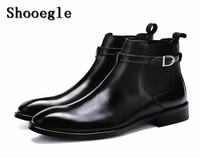 SHOOEGLE Fashion Black Brown Luxury Leather Boots Anti Skid Ankle Botas Buckle Strap Motorcycle Boots Chaussure Homme EU38 EU46