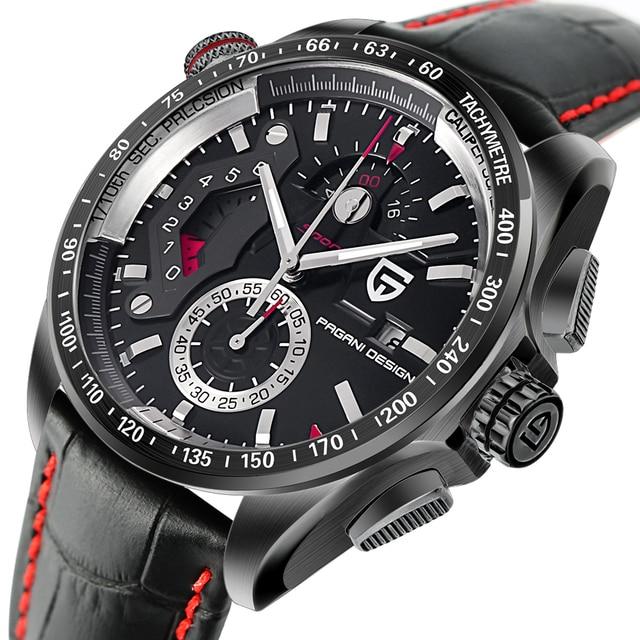 ออกแบบ PAGANI Mens นาฬิกาข้อมือกีฬา Quartz นาฬิกาดำน้ำกันน้ำชายนาฬิกา Chronograph นาฬิกาข้อมือทหาร relogio masculino