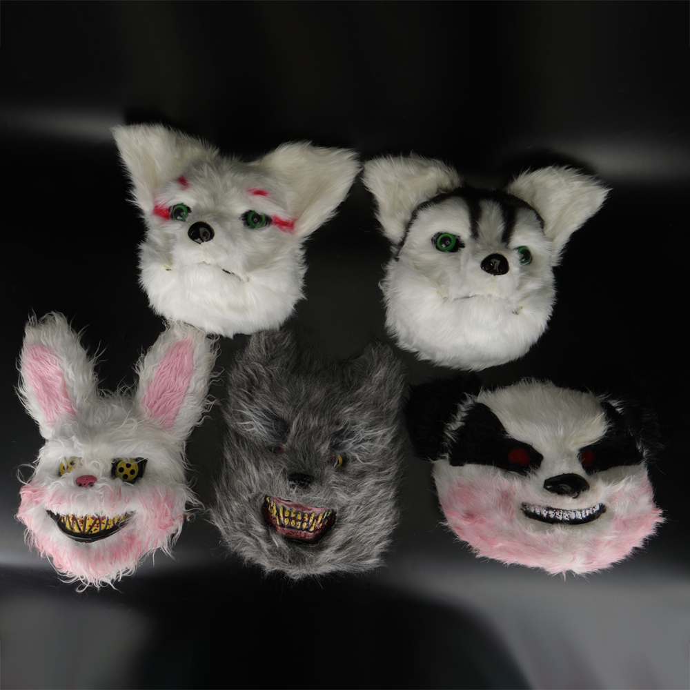 Animal Masks Animal Themed Costumes Horrible Rabbit Mask Felt Plastic Cosplay Prop Halloween Accessories Men Women Face Mask