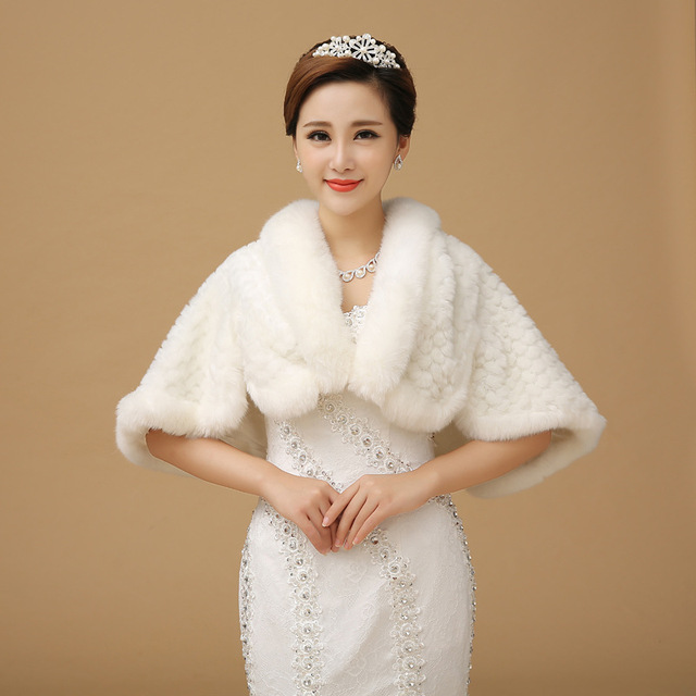Winter thick warm bride wedding dress pearl faux fur shawl white wedding shawls and hijabs AS-37