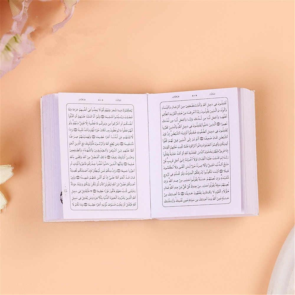 ゴールドカラーのミニアラビアコーランイスラムキーホルダーアッラーリアル紙読むことができますペンダントキーリングファッション宗教ジュエリー A345