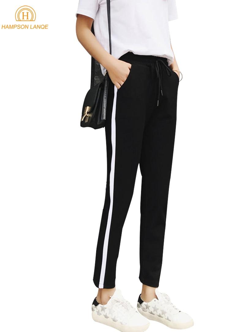 Listrado Disse Calça Preta Slim Fit Mulheres 2018 Primavera Outono Casuais Moletom Feminino Casual Calças Compridas Calças Streetwear S-XXL