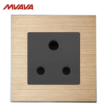 MVAVA 15A Wall Decorative Receptacle 3 Round Pin Socket South Africa Standard Outlet Luxury Aluminium Brushed Pane Free Shipping