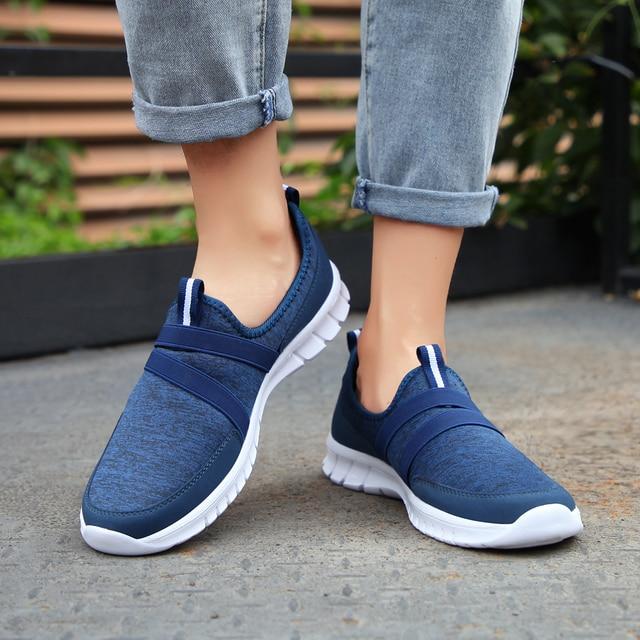 2019 Fashion Women Shoes Flat Platform Casual Ladies Shoes Mesh Sneaker Flat Platform Shoes Women Slip on Big Size 1