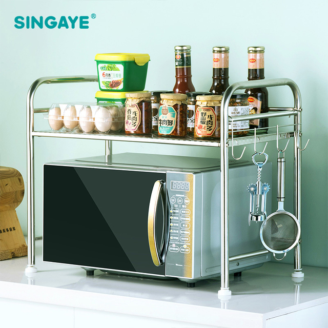 Kitchen Shelf Wood Flooring For Singaye Diy Stainless Steel Microwave Oven Rack Standing Type Double Organizer Storage Holder