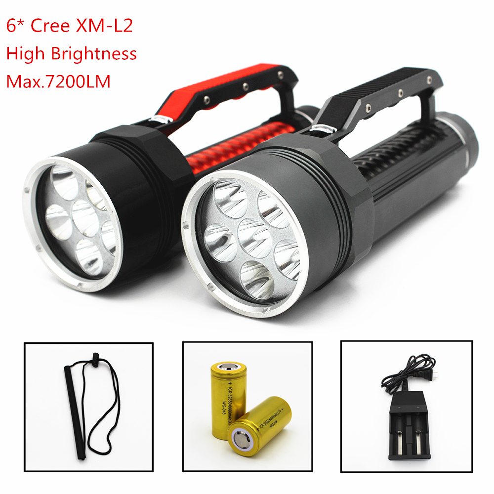 Diving Light 6 x CREE L2 7200LM Diving Flashlight Waterproof Lamp Scuba Submersible Underwater 100M Work Torch 32650 Batteries underwater 100m diving flashlight 8000 lumen 5x cree xm l l2 dive lamp torch for outdoor diving