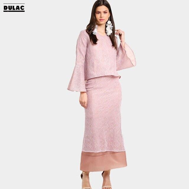 Advanced Customization Wholesale Middle East Elegant Women Fashion Clothing  Muslim Flared Sleeves Dress Baju Kurung with Lace cdd9446e238f