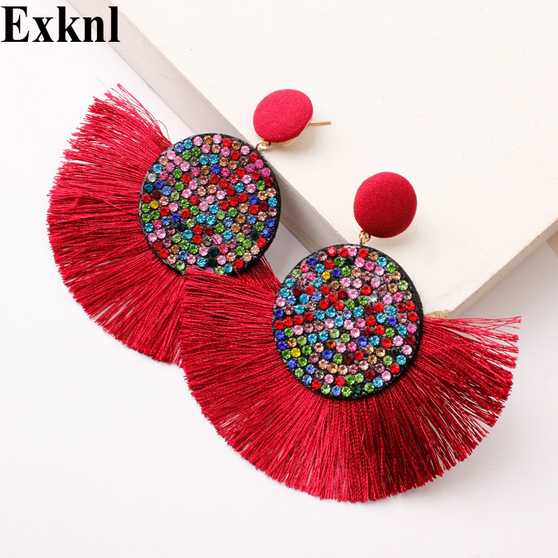 Exknl Fashion Tassel Vintage Statement Drop Earrings For Women Black Red Yellow Big Bohemian Dangle Fringe Earrings 2019 Jewelry