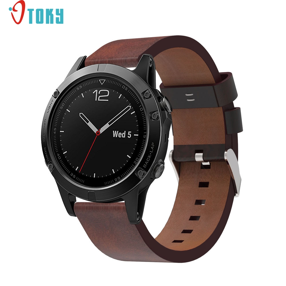 все цены на  Luxury Leather Strap Replacement Watch Band With Tools For Garmin Fenix 5 GPS Watch H30 AUG28  онлайн