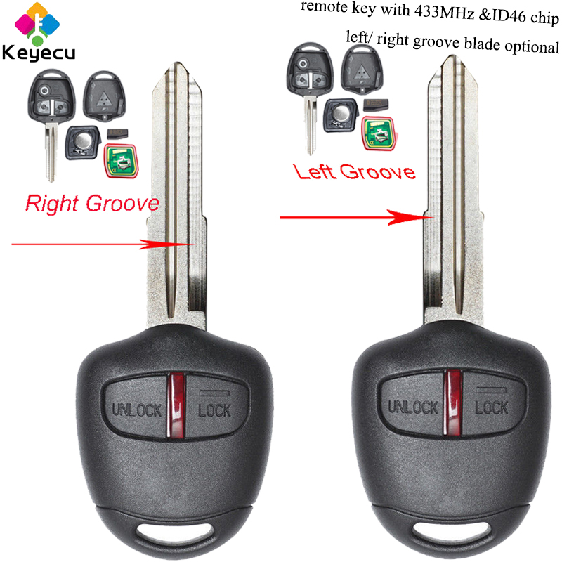 KEYECU <font><b>Replacement</b></font> Remote Car <font><b>Key</b></font> - 2 Buttons & 433MHz Frequency & ID46 Chip - FOB for <font><b>Mitsubishi</b></font> Outlander <font><b>L200</b></font> Shogun Lancer image