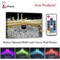 RGB Led Canvas Wall Decorative Makkah Kaaba Hajj Muslim Picture Canvas Print Illuminated painting light up gift living room deco