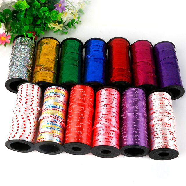 New 100 Yards/Roll Balloons Ribbons Laser Ribbon Foil Confetti Balloon Wedding Birthday Party Decoration Ballons Curling Ribbon