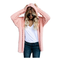 TFGS Women Spring Autumn Coat Long Sleeve Cardigan Hooded Wool Coat Ladies Coat Jacket Women S