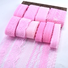 wholesale cheap!10yards/Lot pink lace ribbon Organza fabric DIY embroidery sewing trim for clothing /Home/Dress accessories