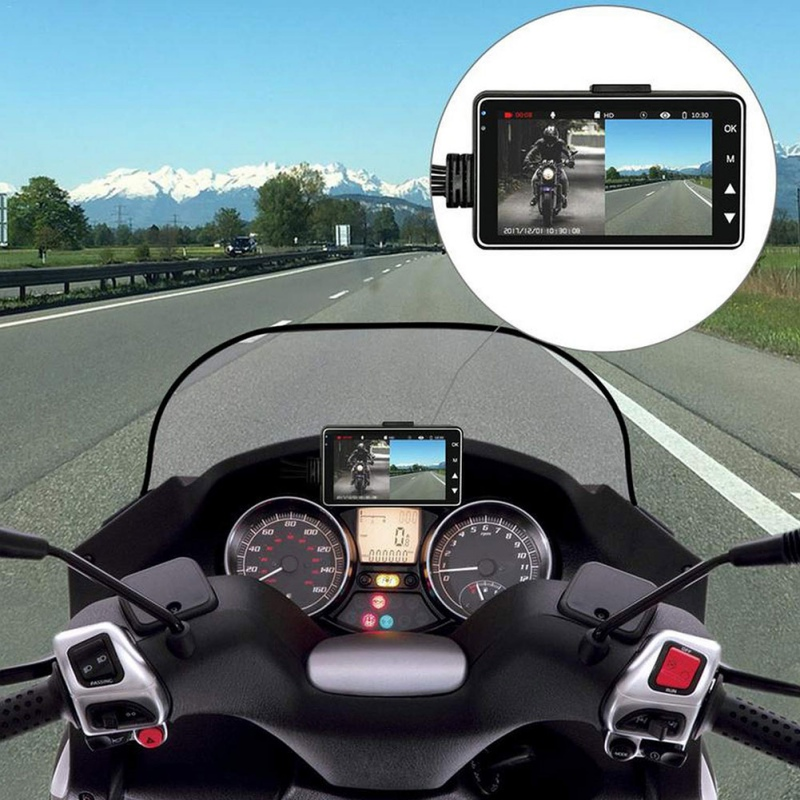 <font><b>2019</b></font> 3 Inch Motorcycle Camera DVR Motor <font><b>Dash</b></font> <font><b>Cam</b></font> with Special Dual-track Front Rear Recorder Motorbike Electronics image
