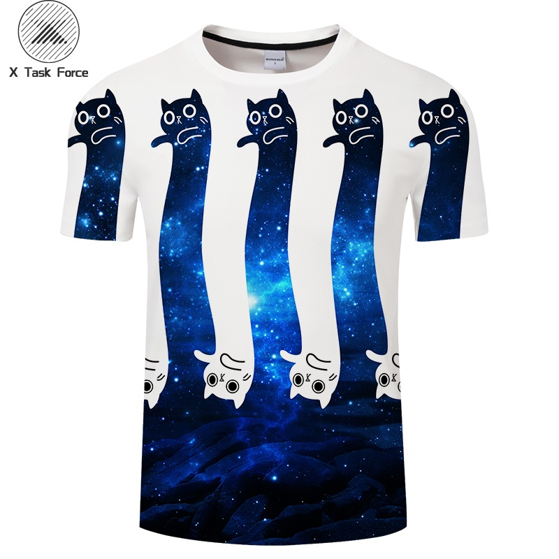 2019 sommer Blau Galaxy Katze T-shirt männer Off White t-shirts Sommer Oansatz Kurzarm Tees Tops Neue 2018 Plus größe Drop Schiff