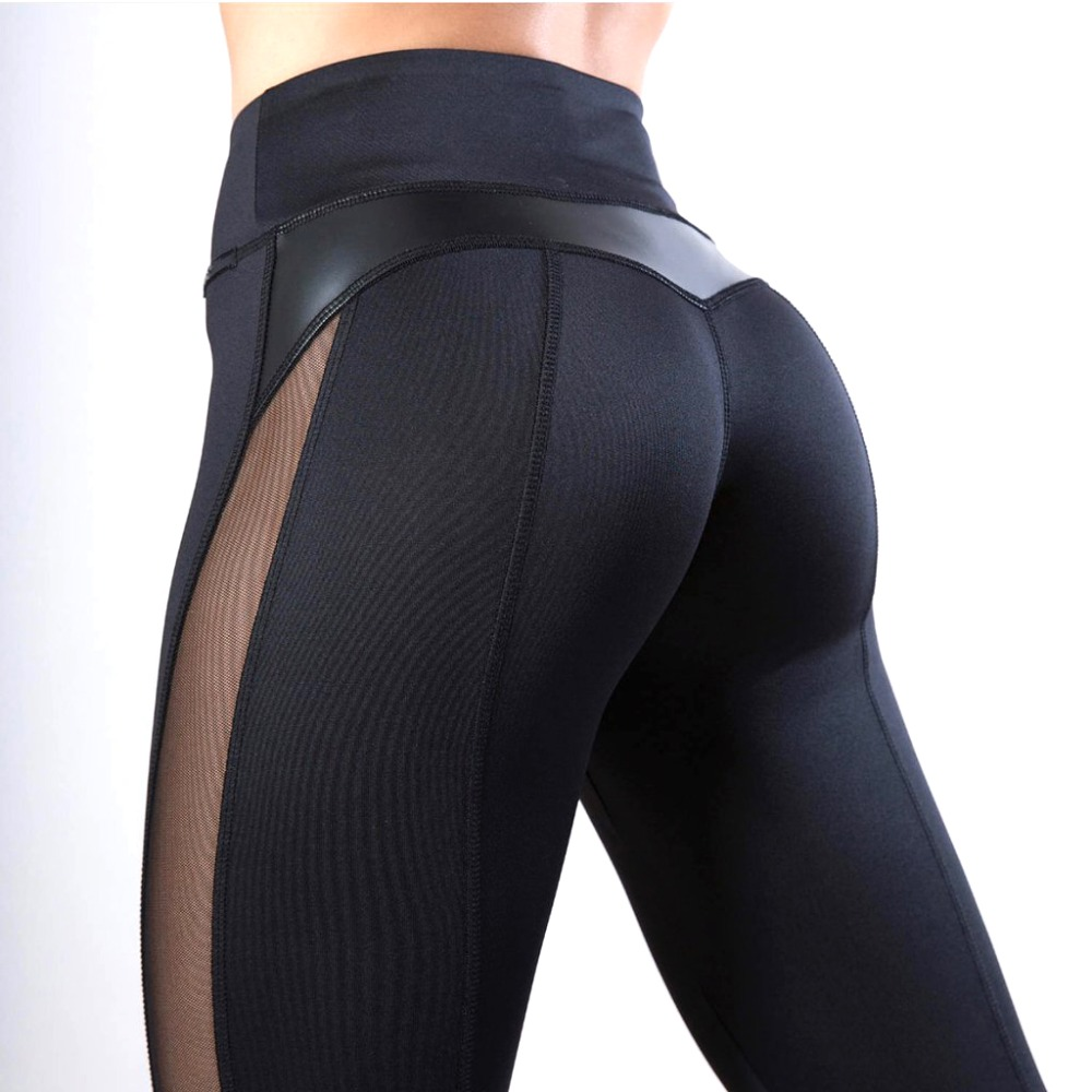 2019 Women Sexy Fitness Leggings PU Leather Patchwork Side Mesh Transparent Leggings See Through Leggings Sports Pants Black
