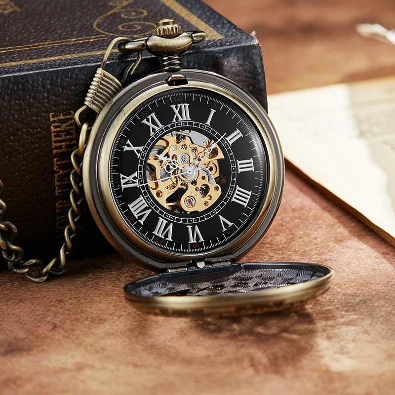 Relógio de Bolso Mecânico Relógio Esqueleto